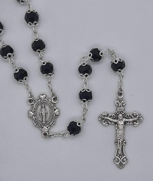 Jet Double-Capped Bead Rosary