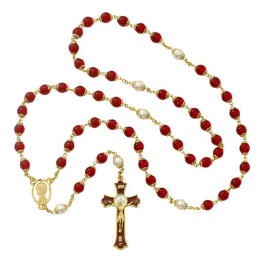 Red & Pearl Double-Capped Bead Rosary