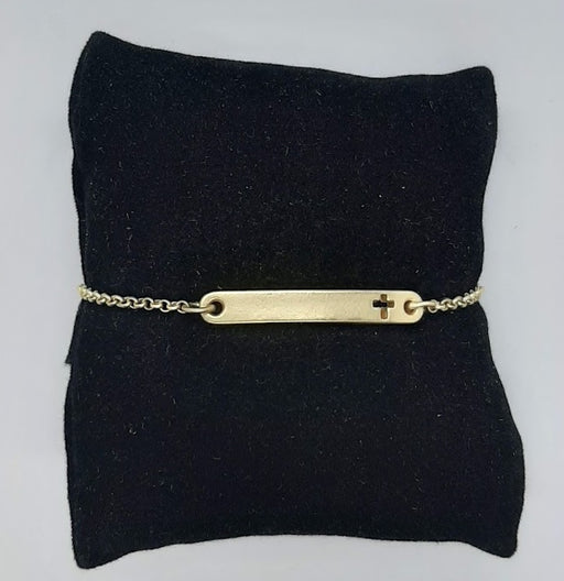 Bar Bracelet with Cross in Gold - Catholic Gifts Canada