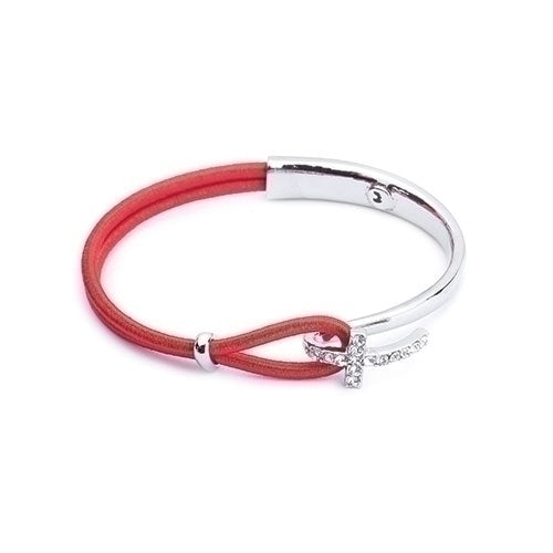 Silver & Red Bracelet with Cross