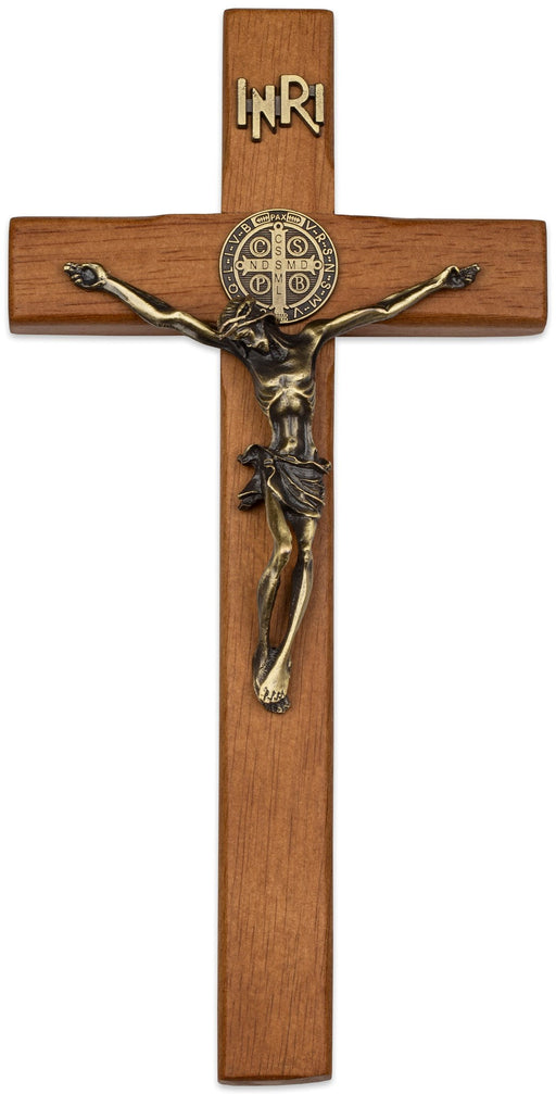 "10"" Walnut Saint Benedict Wall Crucifix"