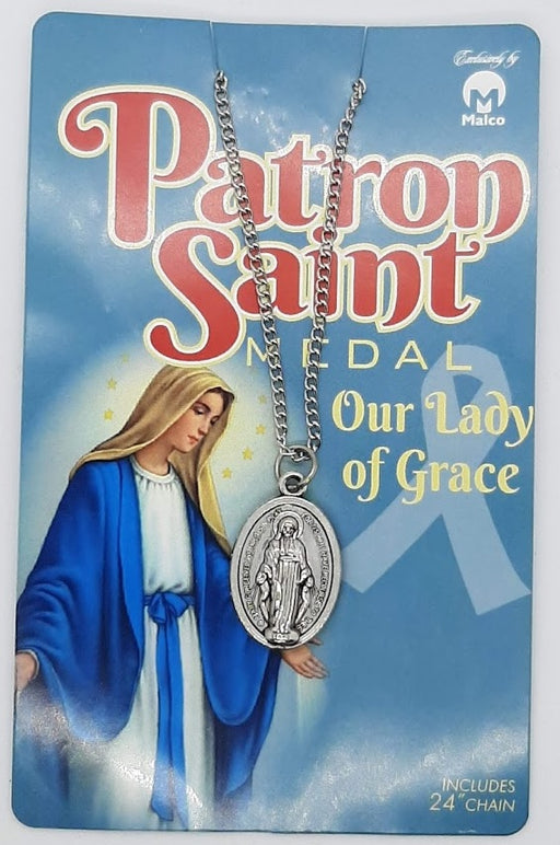 "Our Lady of Grace Medal On 24"" Chain"