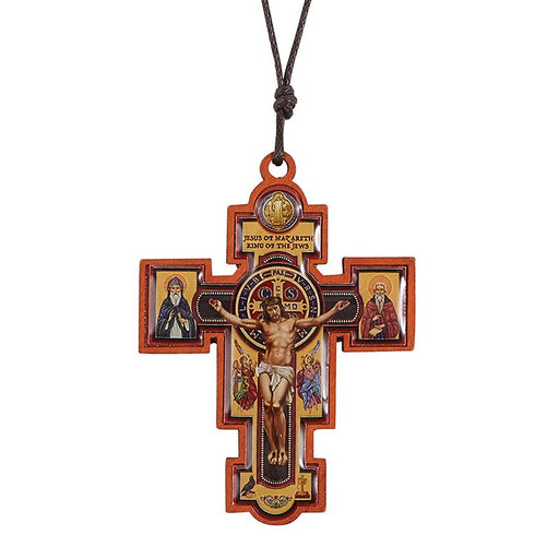 Wood Saint Benedict Crucifix Pendant