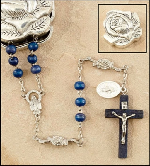 Marian Blue Rose Petal Rosary In Rose Case