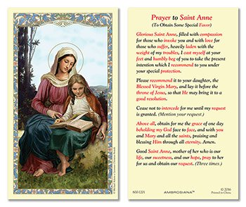 St. Anne Laminated Holy Card