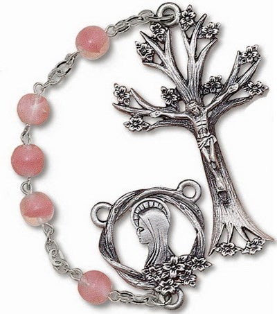 Pink Frosted Glass Bead Dogwood Rosary