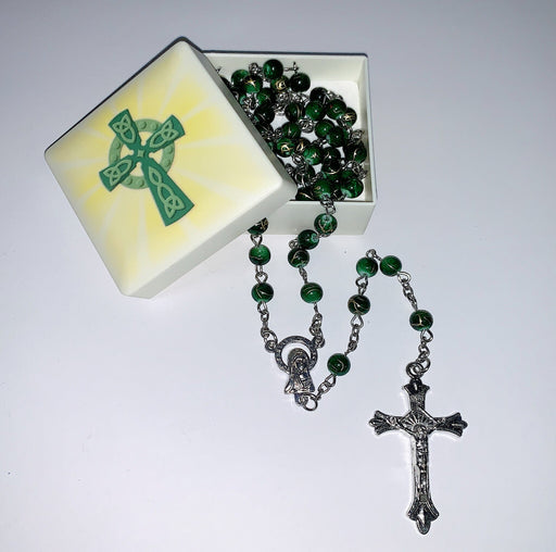 Celtic Cross Keepsake Box With Rosary