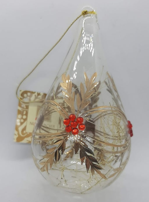 Glass Tear Drop Ornament with Red Berries