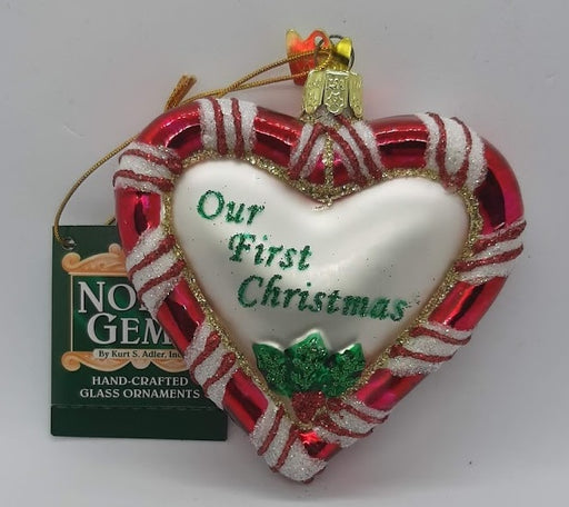 First Christmas Glass Heart Ornament