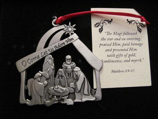 """O Come Let Us Adore Him"" Pewter Ornament"