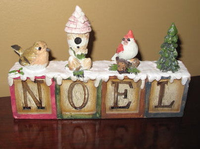 NOEL Blocks with Winter Birds