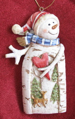 Birch Snowman Ornament
