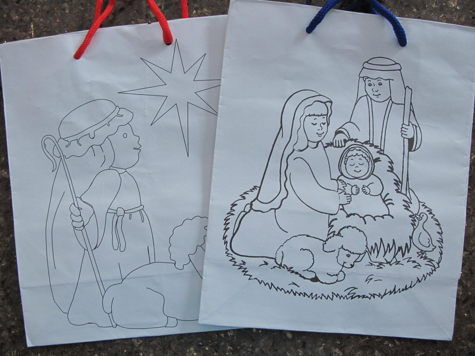 Colour-Your-Own Nativity Gift Bag