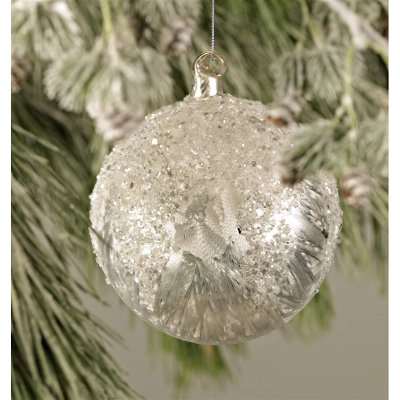 Frosted & Beaded Glitter Ornament