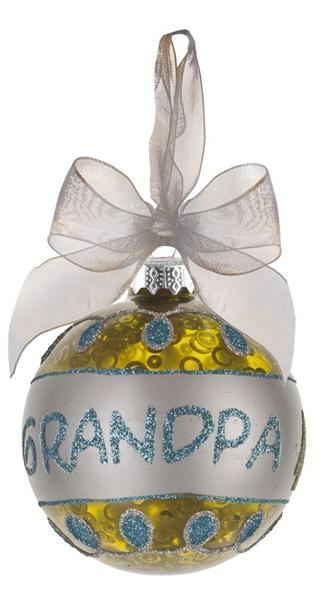 Glass Grandpa Ornament with Glitter