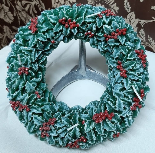 Red & Green Holly Ring Candle