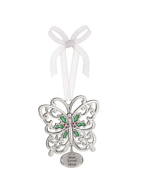 Most Loved Mom Butterfly Ornament