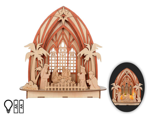 Laser-Cut Nativity with Light