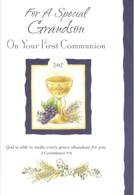 For a Special Grandson Communion Card