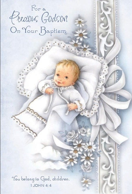 For a Precious Godson Baptism Card