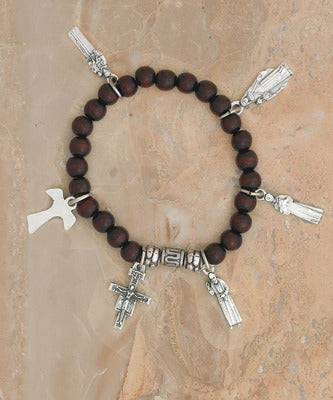 Tau Cross Wood Stretch Bracelet - Catholic Gifts Canada