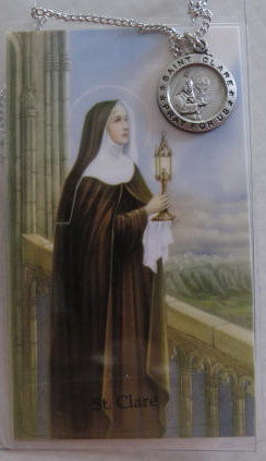 St. Clare Pendant & Prayer Card - Catholic Gifts Canada