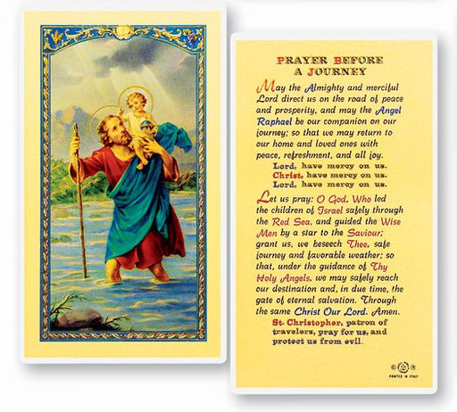 St. Christopher Prayer Card for Journeys - Catholic Gifts Canada