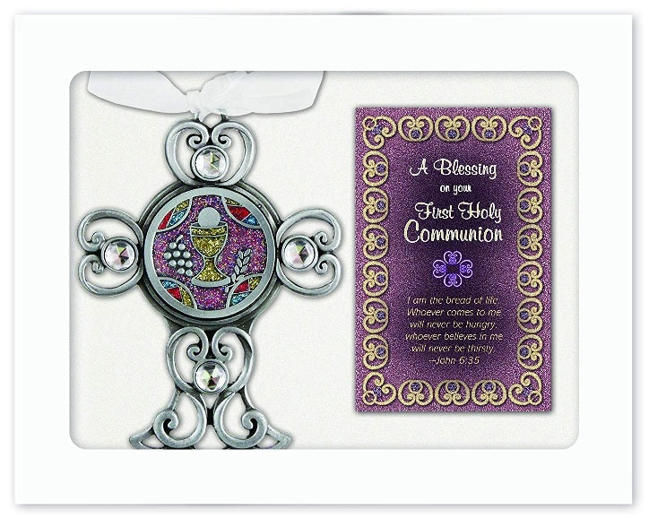 Colourful Pewter Communion Cross - Catholic Gifts Canada