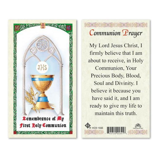 Laminated Communion Prayer Holy Card