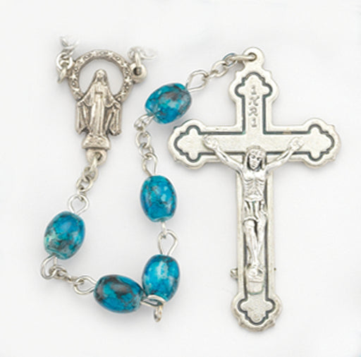 Turquoise Marbled Bead Rosary