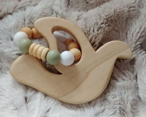 Hardwood Dove Teether - white & olive