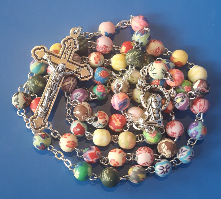 Multi Colour Floral Rosary