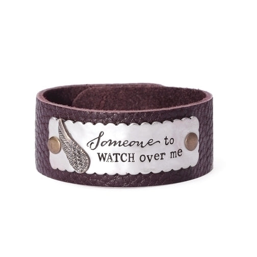"Leather ""Watch Over Me"" Bracelet - Catholic Gifts Canada"