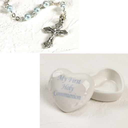 Porcelain Heart Box with Blue Rosary
