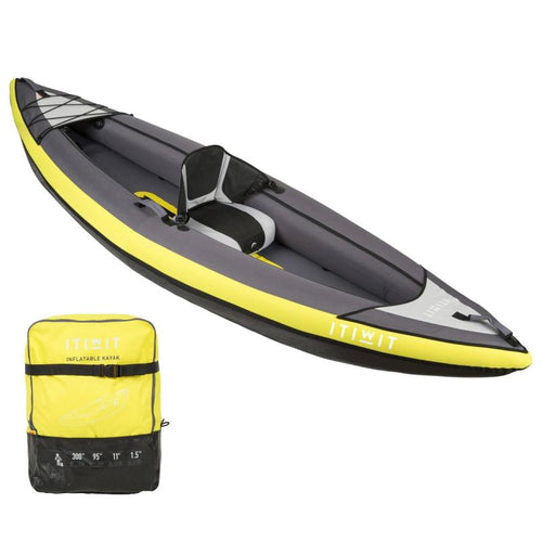 INFLATABLE KAYAK 1 PERSON YELLOW - ITIWIT - Decathlon New Zealand
