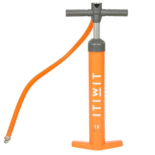 STAND UP PADDLE HIGH PRESSURE HAND PUMP DOUBLE-ACTION 20 PSI ORANGE - ITIWIT - Decathlon New Zealand