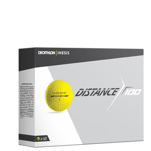 Distance 100 Golf Ball x12 - Yellow - Decathlon New Zealand