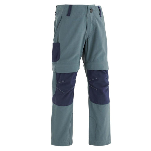 Kid's Convertible hiking trousers - MH500 - Grey/blue - Decathlon New Zealand