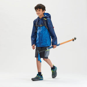 Boys Waterproof Hiking Rain Jacket - 150 - Navy/Grey - Decathlon New Zealand