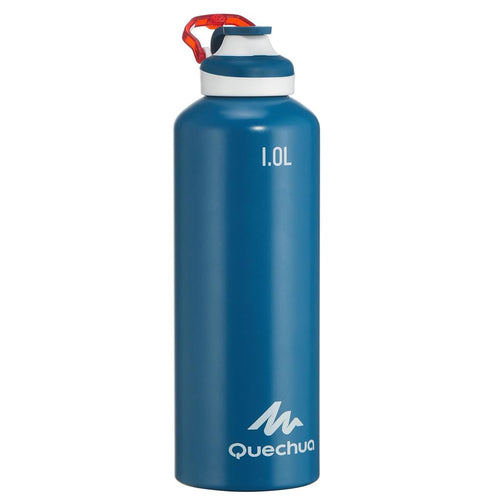 500 Aluminium 1 L Hiking Water Bottle with Quick Opening Top - Blue - Decathlon New Zealand