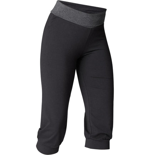 Women's Organic Cotton Gentle Yoga Cropped Bottoms - Black/Grey - Decathlon New Zealand