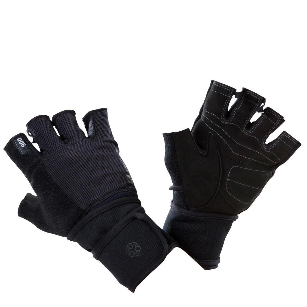 900 Weight Training Glove with Double Rip-Tab Cuff - Black/Grey - Decathlon New Zealand