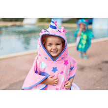Load image into Gallery viewer, Baby Poncho With Hood Pink Unicorn Print