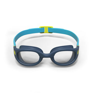Swimming Goggles 100 Soft Size S Blue Yellow Clear Lenses - Blue
