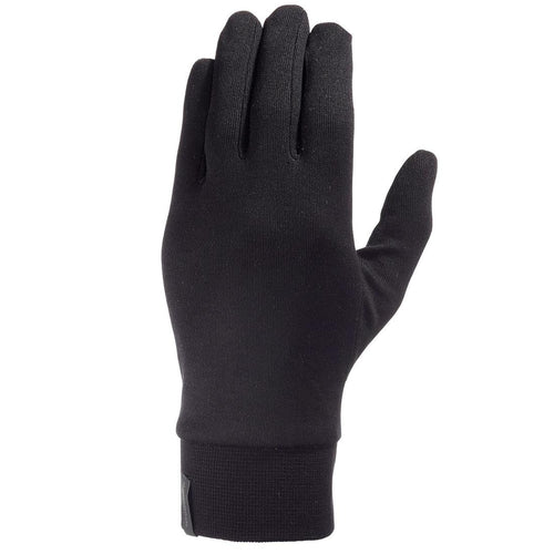 Trek 500 Mountain Trekking Silk Liner Gloves - Black