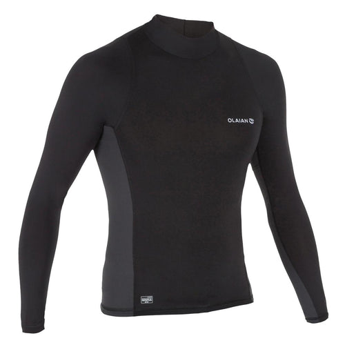 Men'S Surfing Long Sleeve Uv Protection Top T-Shirt 500 - Black