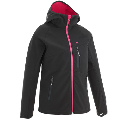 KIDS' SOFTSHELL HIKING JACKET MH500 7-15 YEARS - BLACK AND PINK