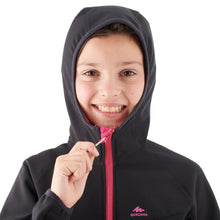 Load image into Gallery viewer, KIDS' SOFTSHELL HIKING JACKET MH500 7-15 YEARS - BLACK AND PINK