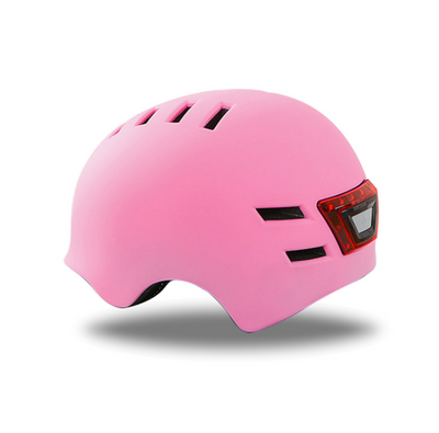 Bicycle Helmet Cycling Scooter Safety Helmet with LED Rear Light Pink M - E-ozzie Electric Vehicles