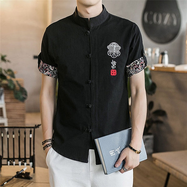 Chinese Shirt, tangsuit wushu male clothes vintage style traditional chinese clothing for men